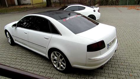 Audi A8 Sound by Audi A8 4 2 V8 Exhaust Sound 3d White Carbon Vinyl Youtube