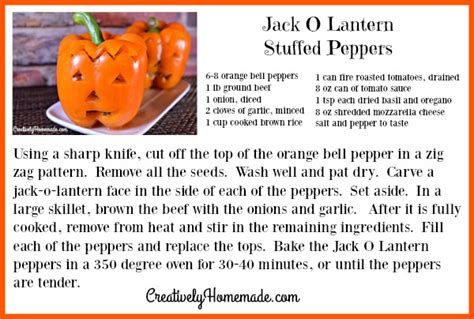 printable halloween recipes jack o lantern stuffed peppers for halloween creatively