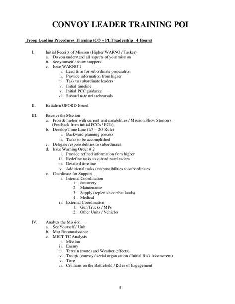 Army Convoy Briefformat Convoy Leader Handbook