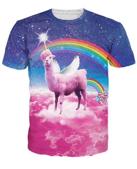 Nannercat Rainbows T Shirt For Mens rainbow llamacorn t shirt pink cloud in space galaxy rainbow 3d llamas t shirt fashion
