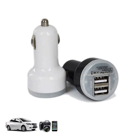 Dual Mini Usb Car Charger Smartphone Tablet Pc Sp011 White Dual Mini Usb Car Charger For Smartphone And Tablet Pc