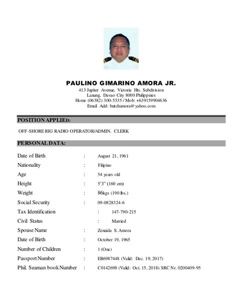Sample Format Of Resume In The Philippines by Latest Resume Oct15