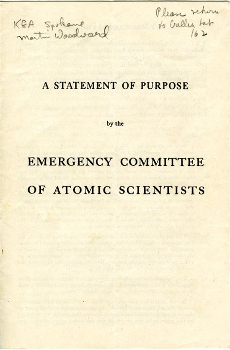 quot a statement of purpose quot 1946 published papers and
