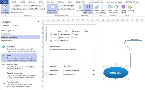 sharepoint site map visio mindmaps for visio oneassist