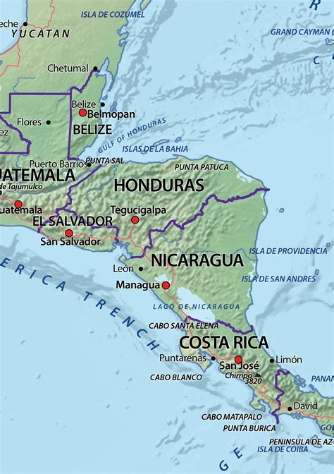 physical digital map central america 631 the world of