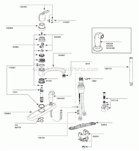 moen single handle kitchen faucet parts diagram