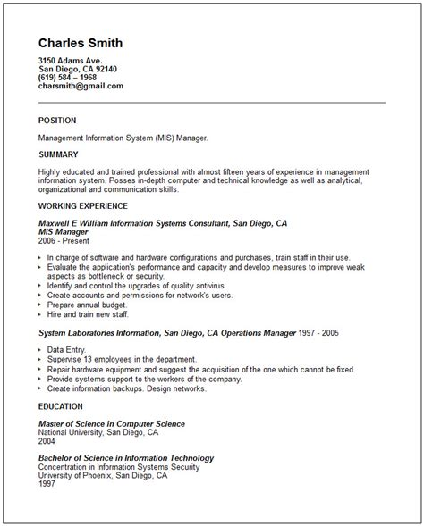 mis resume format information technology resume exles