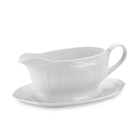 buy mikasa 174 antique white gravy boat and stand from bed - Mikasa Antique White Gravy Boat
