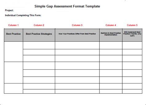 simple gap assessment format template projectemplates