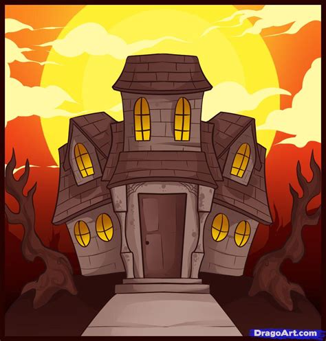 how to draw a haunted house how to draw a haunted house step by step halloween seasonal free online drawing