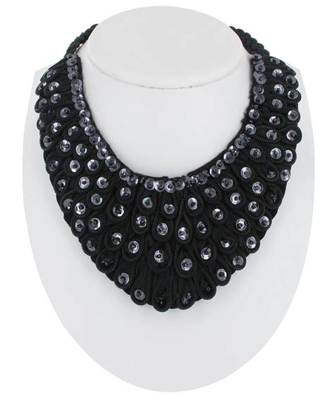Black Collar Necklace black beaded sequin bib collar necklace ebay