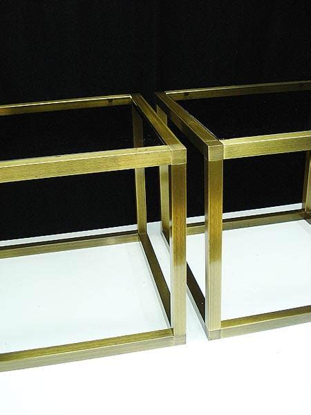 glass and brass end tables 60s regency brass glass cube side tables nr