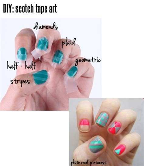 nails designs using tape nail tutorials how to use scotch tape pretty designs