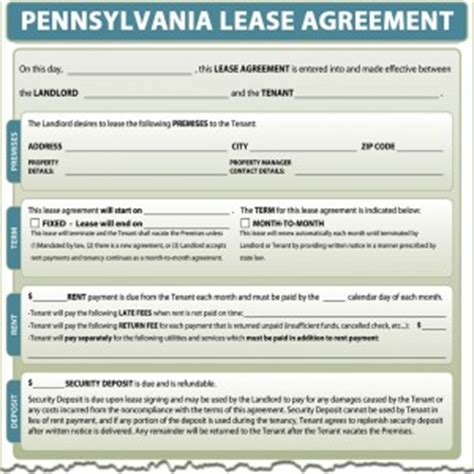 residential lease agreement pa printable pennsylvania lease agreement