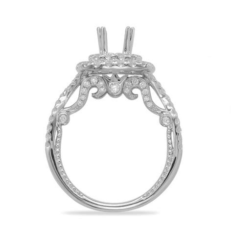 scroll halo engagement ring setting in