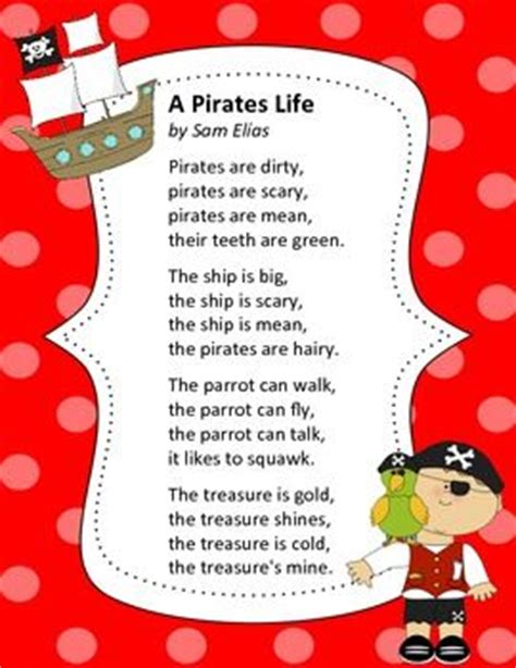 poems with a pattern year 2 pirate life poem pirates pinterest
