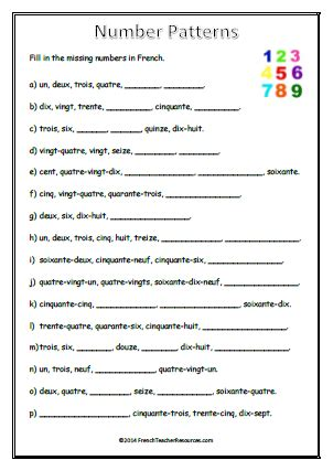 pattern of behavior in french common worksheets 187 french numbers 1 30 preschool and