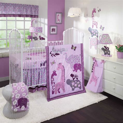 Lambs Ivy Lavender Jungle 4 Piece Crib Bedding Set