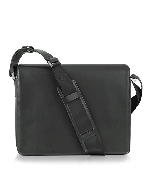 porsche pouch porsche design black leather messenger bag in black lyst
