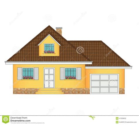 drawing of a house with garage house with garage illustration stock vector image 41328632