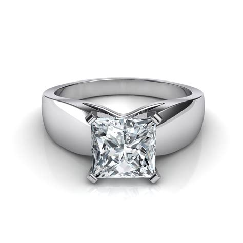 wide band princess cut engagement ring