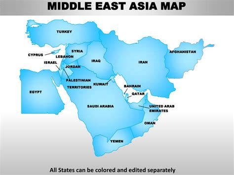 middle east map template middle east asia editable continent map with countries