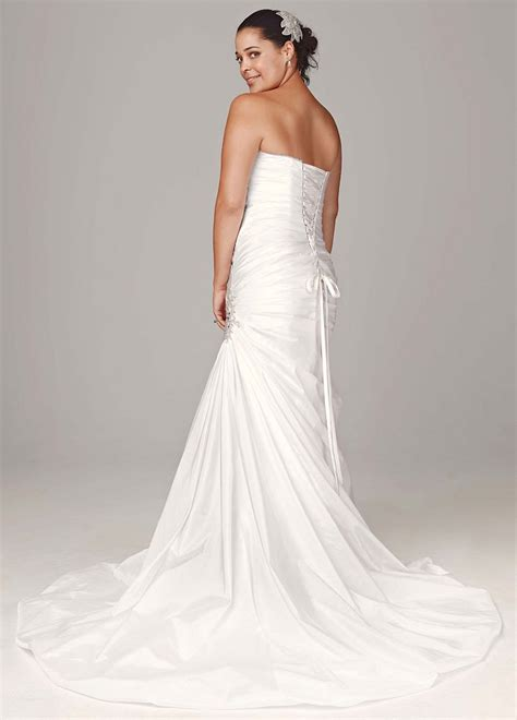 david bridal strapless sweetheart trumpet wedding dress