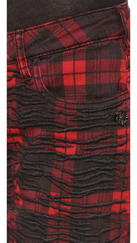 scotch plaid maison scotch plaid pants black red in red lyst