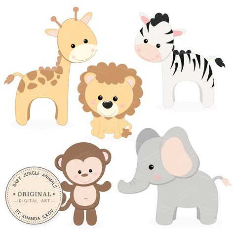 Baby Animal Clipart Baby Shower by Professional Baby Jungle Animals Clipart Vector Set Baby