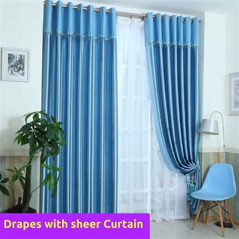 pattern matching fabric curtains blockout blue valance fabric bedroom door curtain drapes