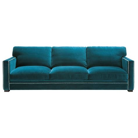 peacock velvet sofa 4 5 seater velvet sofa in blue dandy maisons du monde