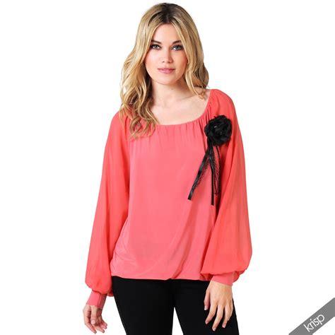 Flowers Casual Top 27161 womens casual sheer sleeve shirt top corsage flower chiffon blouse tunic ebay