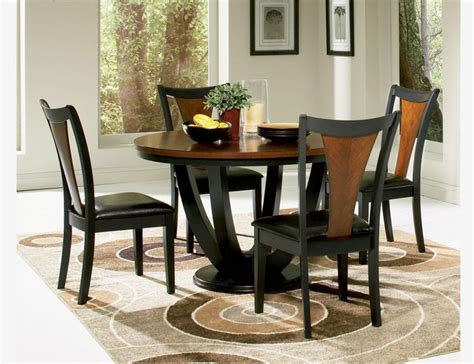 f 5 pc black cherry wood dining set table chairs
