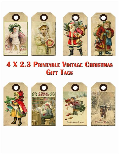 printable gift tags on pinterest free printable vintage christmas tags google search