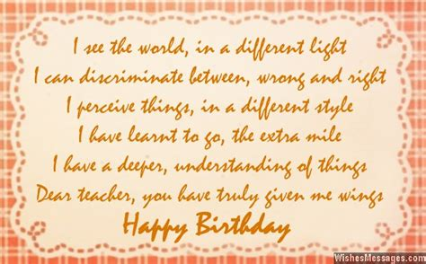 Birthday Poems For Teacher Wishesmessages Com