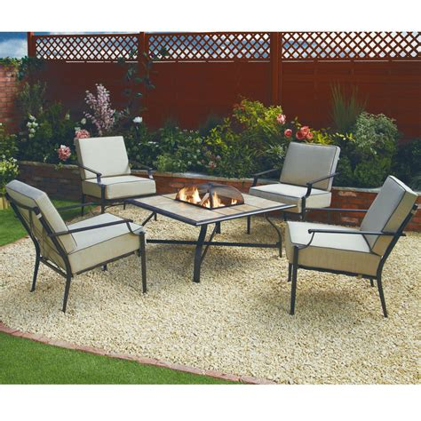 backyard patio set nevada five piece firepit garden set