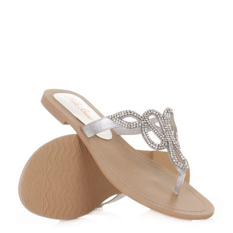 flat silver prom shoes womens flat diamante toe post loop prom wedding