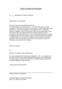 Rescission Letter Template Notice Of Right Of Rescission Hashdoc