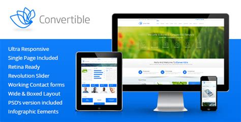 Convertible Responsive Html5 Template By Premiumlayers Themeforest Themeforest Html5 Templates