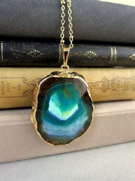 agate stones for jewelry gold necklaces layering stacking blue teal aqua ombre
