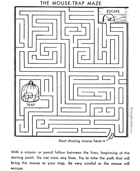 printable free mazes free medium maze coloring pages