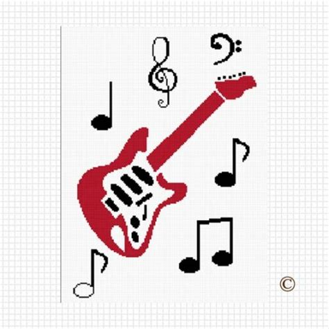 crochet pattern music notes red guitar musical notes crochet afghan pattern graph pdf