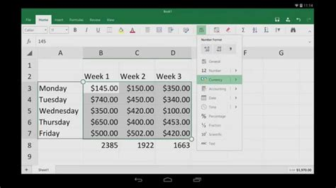 tutorial excel android excel for android tablet getting started