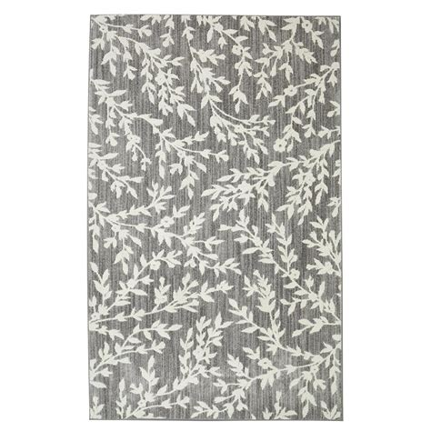 8 x 10 grey area rug floral branches gray 8 ft x 10 ft area rug 508753 the home depot