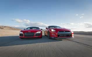 Audi R8 Vs Nissan Gtr 2014 Audi R8 V10 Plus Nissan Gt R Track Pack Front End In