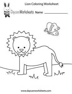 free printable lion coloring worksheet for preschool