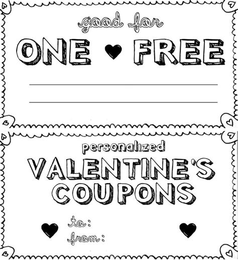Black And White Printable Love Coupons | free printable love coupons and coupon templates