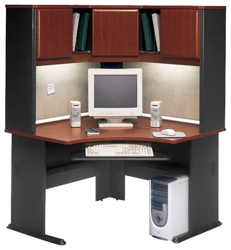 Corner Computer Desk Hutch Bush Series A 48 Quot Corner Computer Desk With Hutch In Hansen Cherry Transitional Desks And