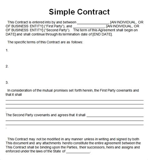 simple contract template simple contract template peerpex