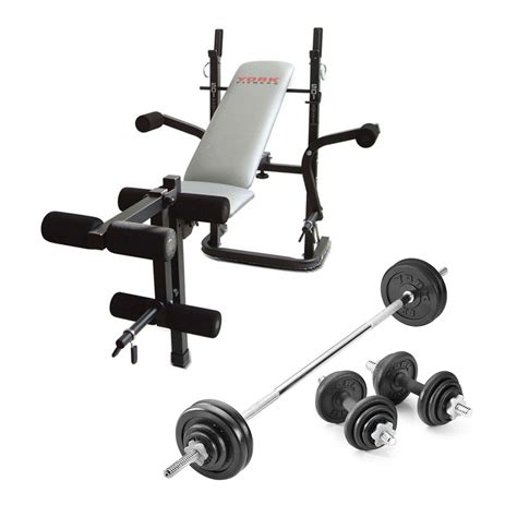 weights bench set york b501 weight bench with 50kg cast iron weight set